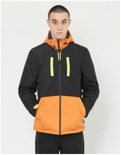 THE IDLE MAN Colour Block Sports Jacket Orange & Black Mens