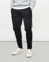 THE IDLE MAN Contrast Stripe Mens Joggers With Pockets Black