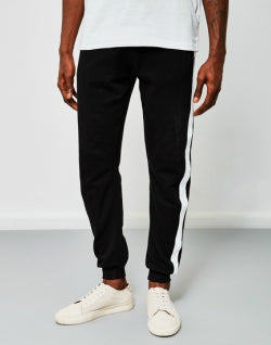 THE IDLE MAN Contrast Tape Jogger Black mens