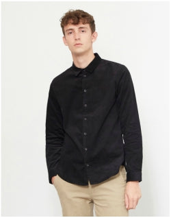 THE IDLE MAN Corduroy Shirt Black Mens