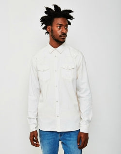 THE IDLE MAN Cotton Western Shirt White mens
