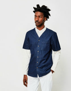 THE IDLE MAN Denim Baseball Shirt Navy mens