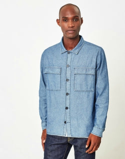 THE IDLE MAN Denim Overshirt Blue mens