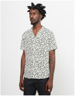 THE IDLE MAN Ditsy Floral Print Revere Collar Shirt White Mens