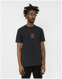 THE IDLE MAN Embroidered Sunday Club T-Shirt Black Mens