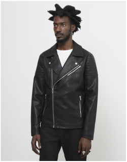 THE IDLE MAN Faux Leather Biker Jacket Mens