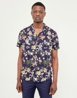 THE IDLE MAN Floral Print Revere Collar Shirt Navy