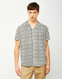 THE IDLE MAN Geo Print Cuban Collar Shirt White