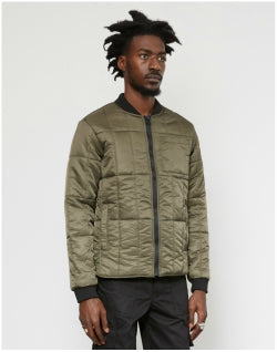 THE IDLE MAN High Shine Quilted Bomber Green Mens