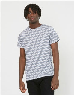 THE IDLE MAN Jacquard Stripe T-Shirt Navy Mens