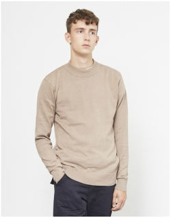 THE IDLE MAN Knitted Turtle Neck Jumper Stone Mens