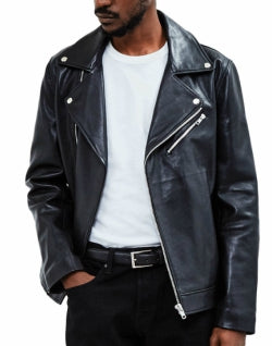 THE IDLE MAN Mens Leather Biker Jacket Black