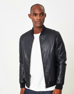 THE IDLE MAN Leather Bomber Jacket for Men
