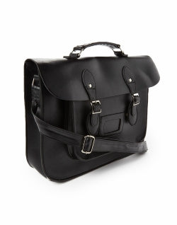 THE IDLE MAN Leather-Look Satchel Black mens
