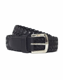 THE IDLE MAN Leather Plait Belt Black mens