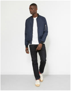 THE IDLE MAN Lightweight Poly Bomber Jacket Navy Mens