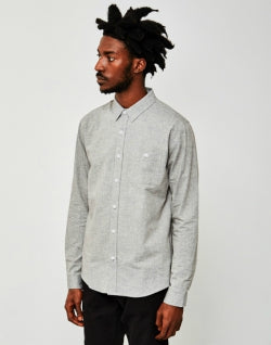THE IDLE MAN Long Sleeve Basic Shirt Grey mens