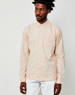 THE IDLE MAN Long Sleeve Oxford Shirt Pink mens