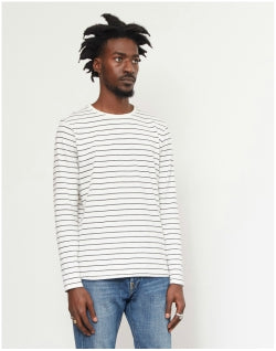 THE IDLE MAN Long Sleeve Striped T-Shirt White Mens