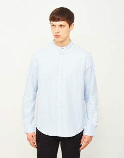 THE IDLE MAN Mandarin Collar Shirt Blue mens