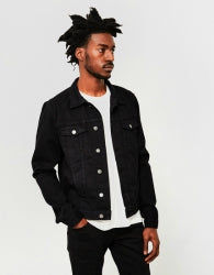 THE IDLE MAN Mens Denim Jacket Black