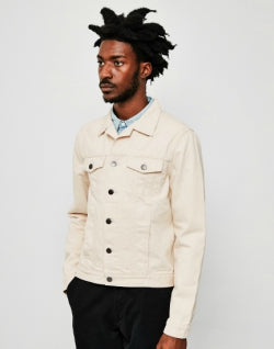 THE IDLE MAN Mens Denim Jacket Off White