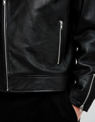 THE IDLE MAN Mens Leather Biker Black 1