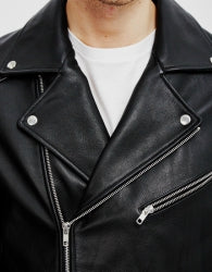 THE IDLE MAN Mens Leather Biker Black