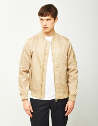 THE IDLE MAN Mens Lightweight MA-1 Nylon Bomber Jacket Stone