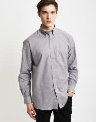 THE IDLE MAN Mens Long Sleeve Oxford Shirt Grey