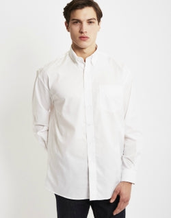 THE IDLE MAN Mens Long Sleeve Oxford Shirt White