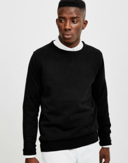 THE IDLE MAN Mens Merino Jumper Black