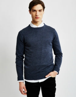 THE IDLE MAN Mens Merino Jumper Blue