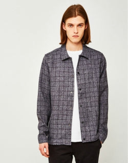 THE IDLE MAN Mens Smart Check Coach Jacket Navy