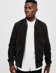 THE IDLE MAN Mens Suede Bomber Black