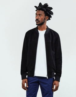 THE IDLE MAN Mens Suede Bomber Jacket Black