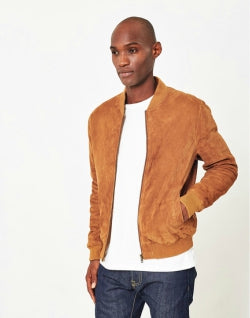 THE IDLE MAN Mens Suede Bomber Jacket Tan