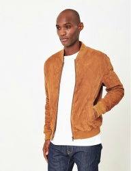 THE IDLE MAN Mens Suede Bomber Tan