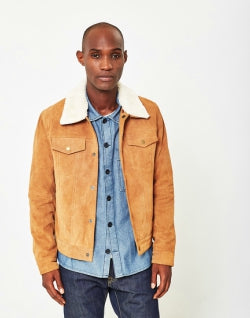 THE IDLE MAN Mens Suede Western with Detachable Collar Tan