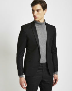 THE IDLE MAN Mens Suit Jacket in Skinny Fit Black