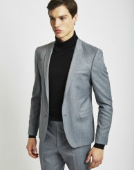 THE IDLE MAN Mens Suit Jacket in Skinny Fit - Grey