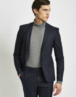 THE IDLE MAN Mens Suit Jacket in Skinny Fit - Navy