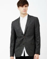 THE IDLE MAN Mens Tweed Blazer in Slim Fit Black