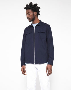 THE IDLE MAN Mens Zip Utility Over Shirt Navy