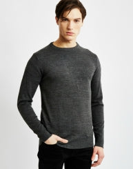 THE IDLE MAN Merino Mens Jumper Grey