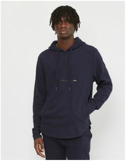 THE IDLE MAN Ottoman Rib Overhead Hoodie Navy Mens