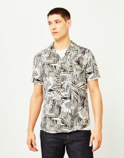 THE IDLE MAN Palm Leaf Revere Collar Shirt Grey mens