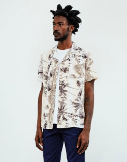 THE IDLE MAN Palm Print Revere Collar Shirt Beige