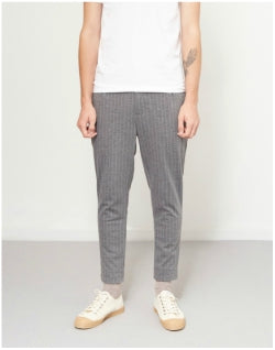 THE IDLE MAN Pinstripe Crop Chino Grey Mens