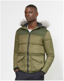 THE IDLE MAN Puffer Parka Green Mens